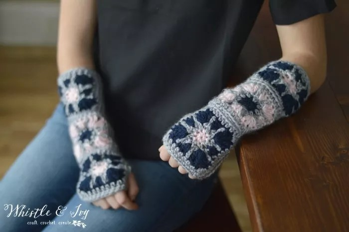 Starburst Granny Square Arm Warmers designed by Whistle and Ivy-FREE Crochet Fingerless mItts