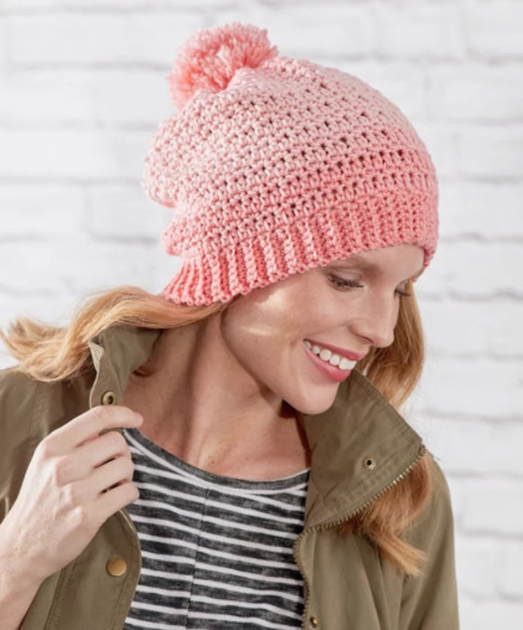 FREE Crochet Ombre Hat-Pantone color of the year Living Coral