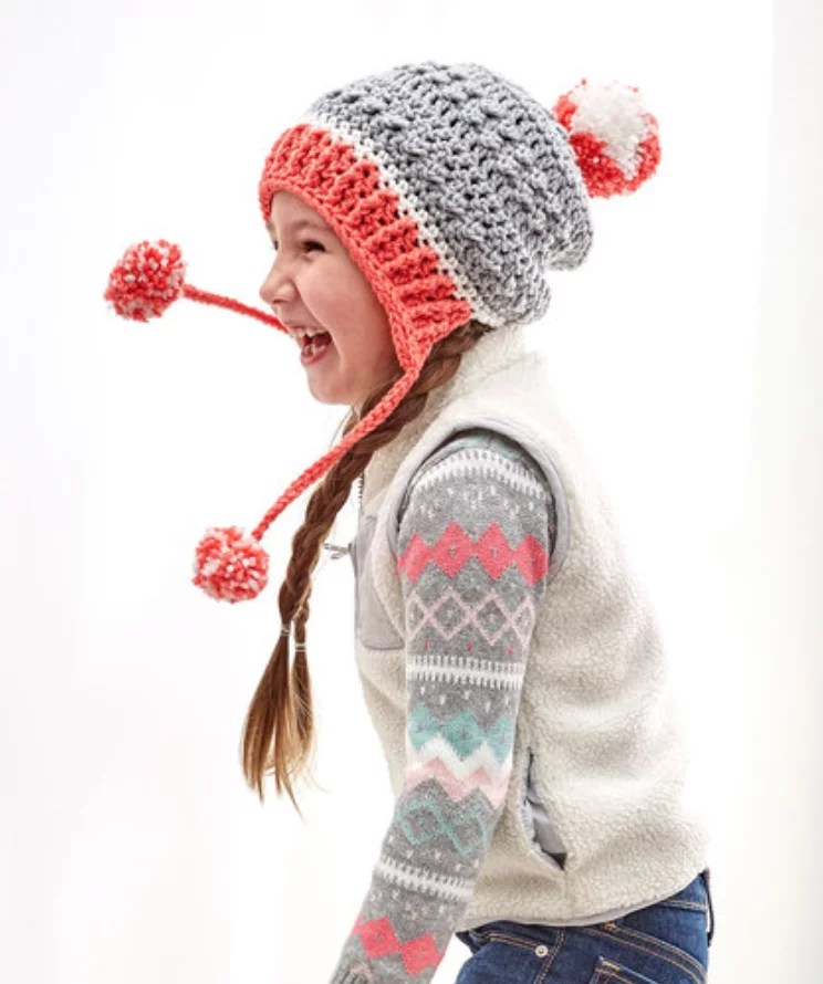 FREE Crochet Little Miss Pompom Hat-Pantone color of the year Living Coral