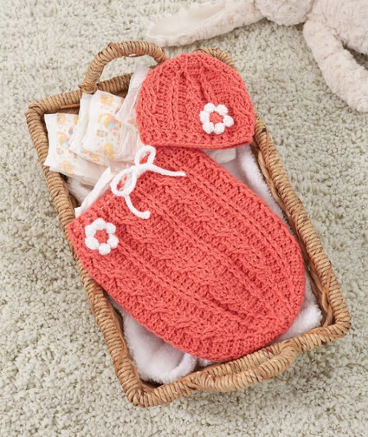 FREE Crochet Just Peachie Cocoon Set-Pantone color of the year Living Color