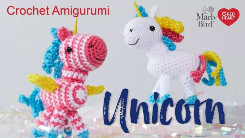 Video Tutorial and FREE pattern for crochet unicorn amigurumi