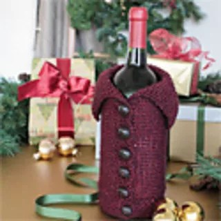 All Buttoned Up Wine Cozy -- knitted wine bottle cover pattern