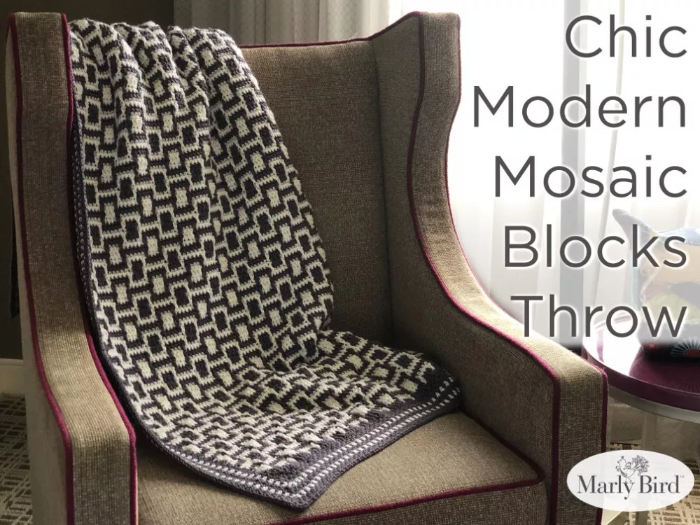 Chic Modern Mosaic Blocks Throw-Free Crochet Pattern-Marly Bird