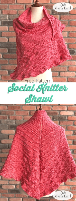 Social Knitter Shawl by Marly Bird Free Knit Shawl Pattern