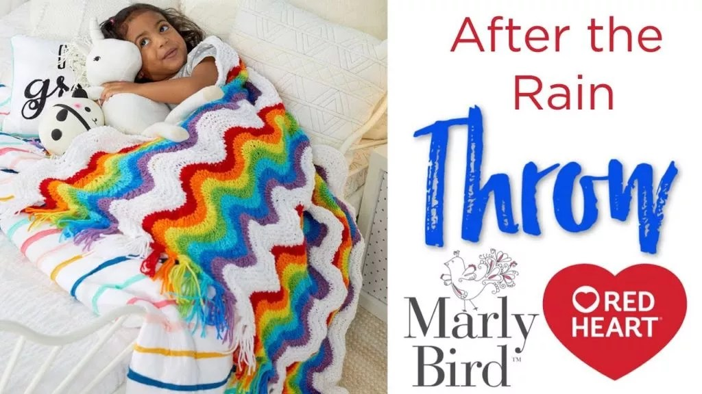 Video tutorial for the After the Rain Feather and Fan Knit Blanket from Red Heart