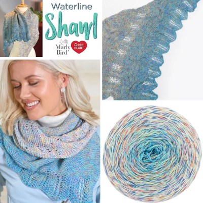 Easy Knit Beginner Lace Shawl-Waterline Shawl