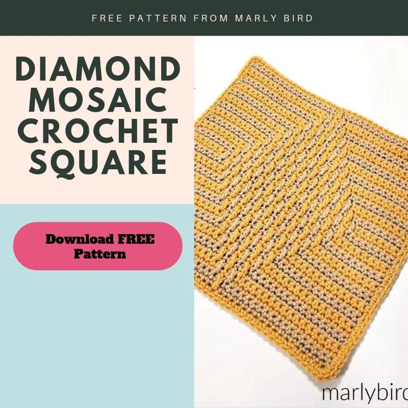 Download the FREE Diamond Mosaic Crochet Square Pattern
