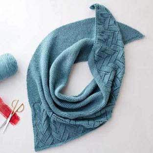 FREE Asymmetrical Lace Knit Shawl from Yarnspirations