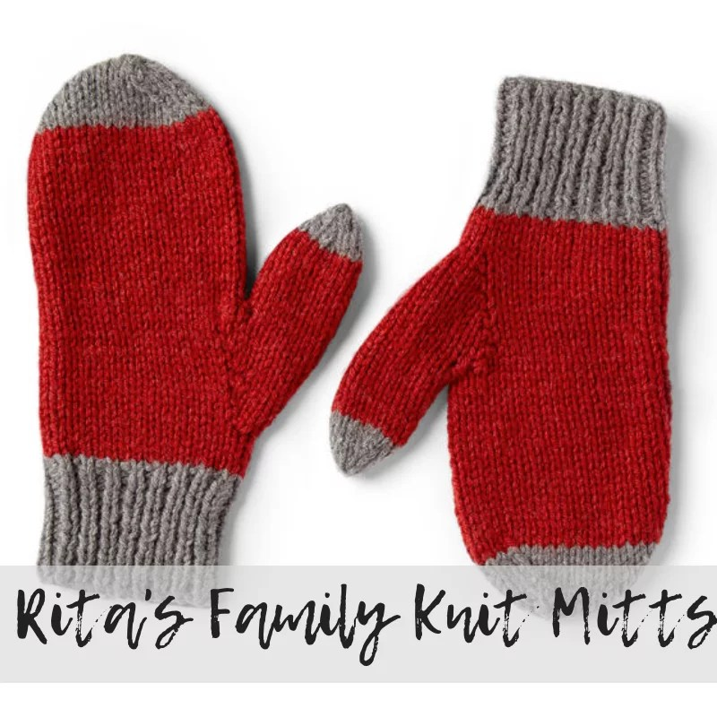 Download the FREE Rita's Knit Family Mitts Pattern