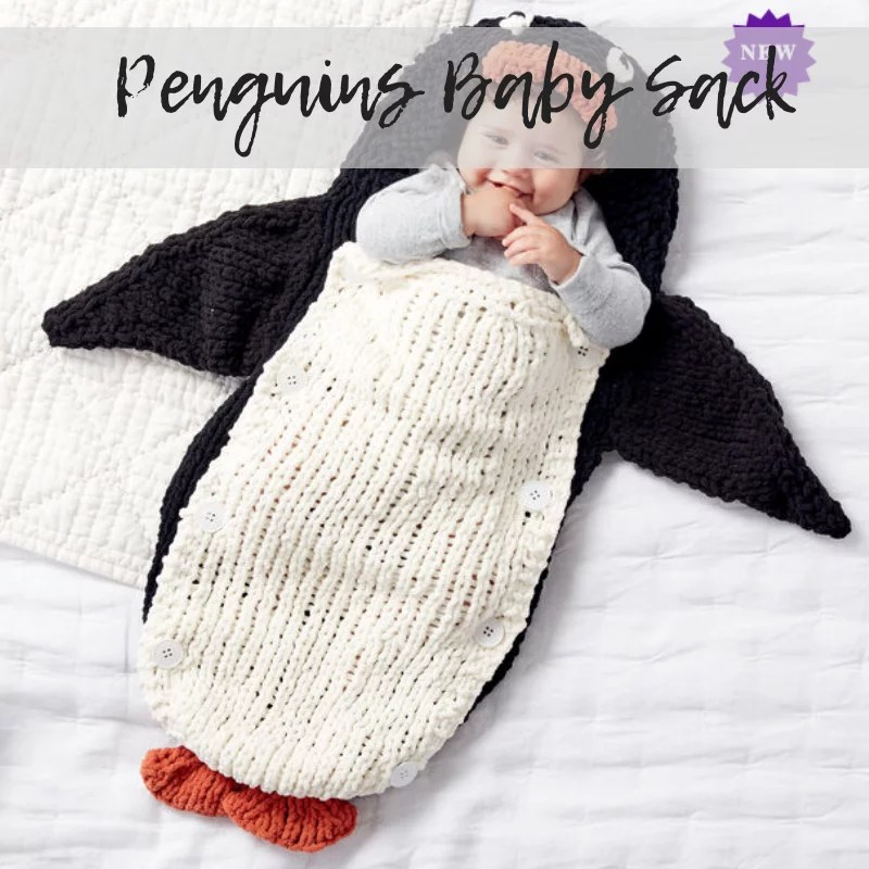 FREE Knit Baby Sack Pattern from yarnspirations with penguin