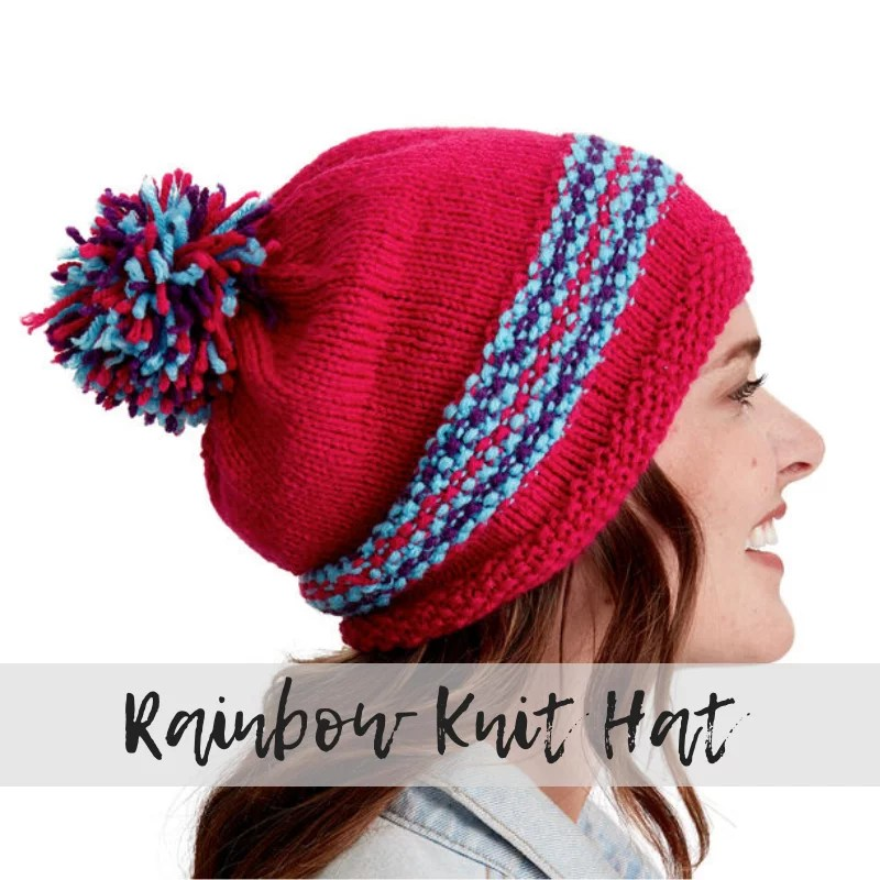 Download the FREE Rainbow Knit Hat pattern from Yarnspirations