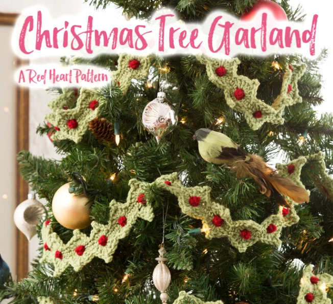 FREE Christmas Tree Garland pattern from Yarnspirations