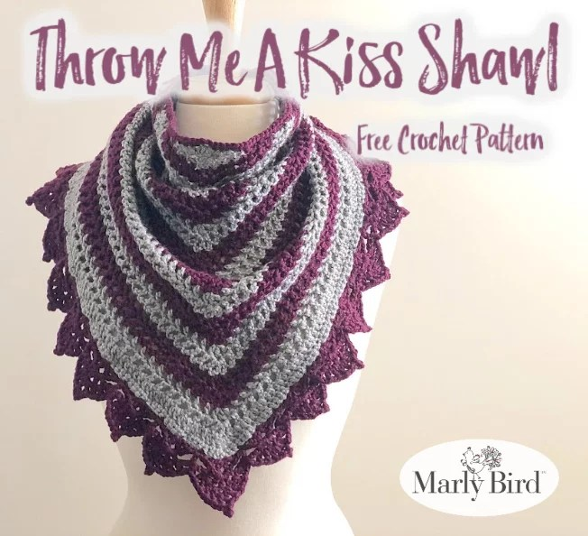 Crochet shawl with lace border