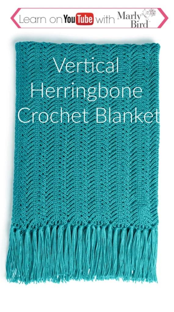 Vertical Herringbone Crochet Blanket Video Tutorial and FREE pattern