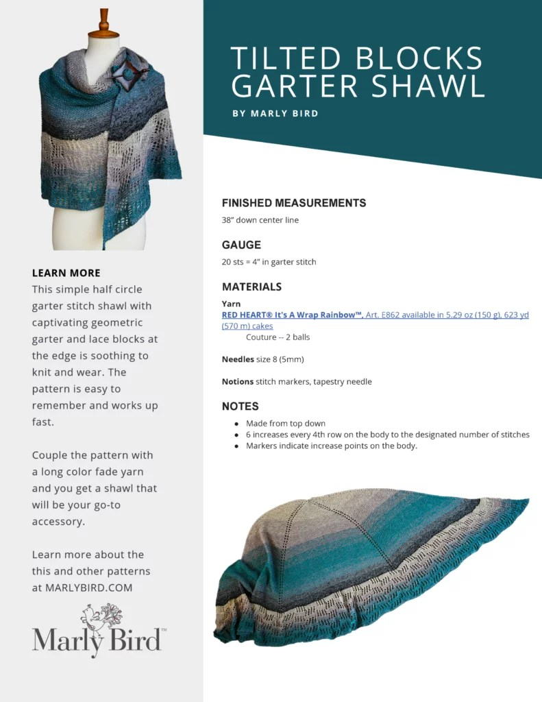 Cover Image of Tilted Blocks Garter Shawl Ad free PDF available for purchase