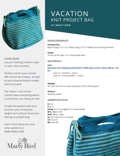 Purchase the Ad-Free PDF of the Vacation Knit Project Bag on Ravelry