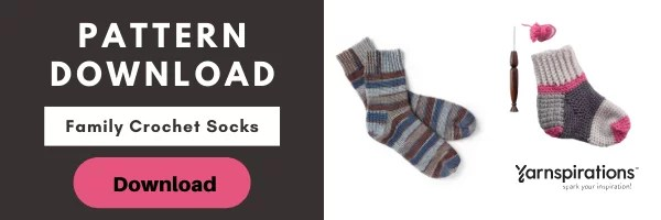 Download the FREE Family Crochet Socks pattern from Yarnspirations