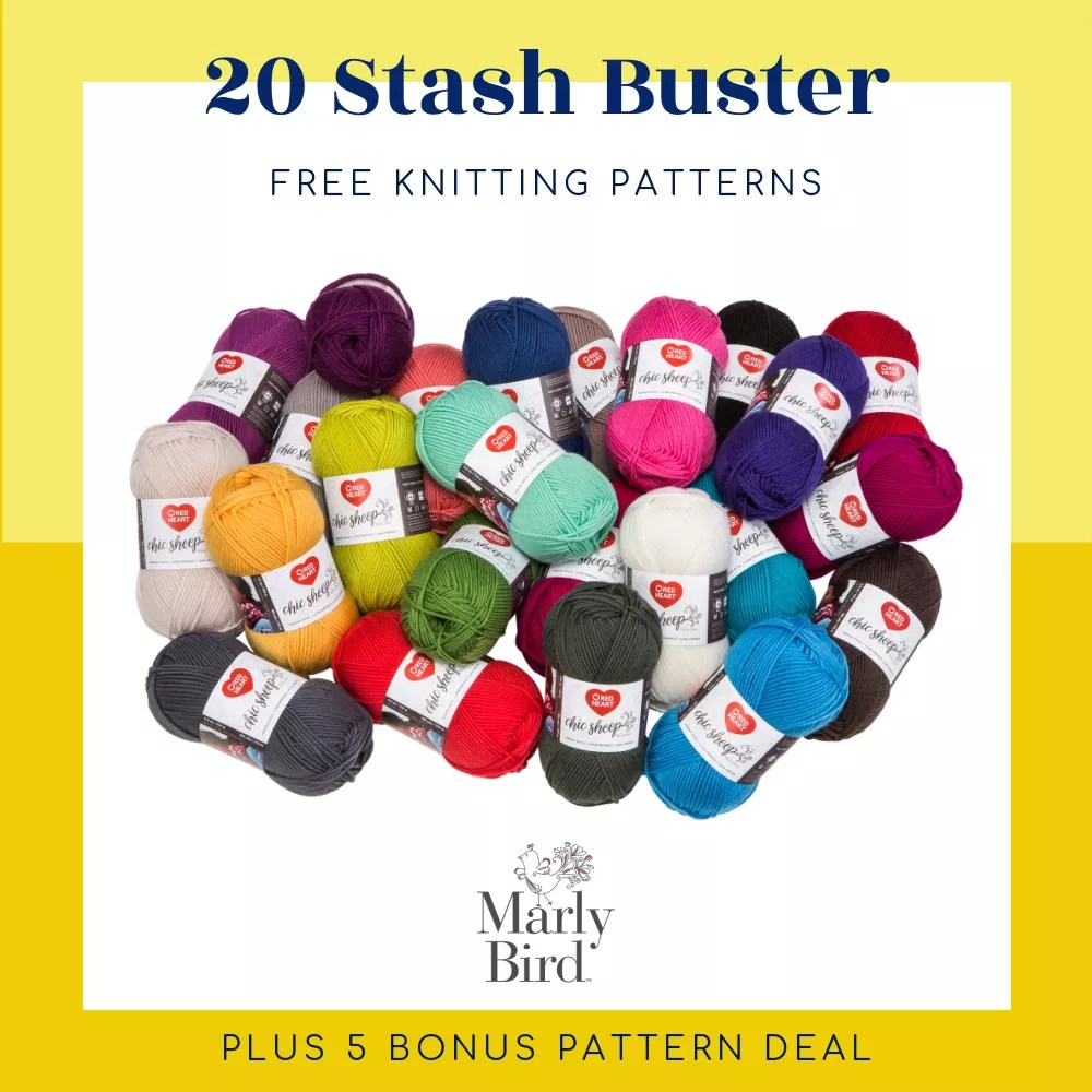 20 Stash Buster Knitting Patterns Image of pile of worsted weight yarn