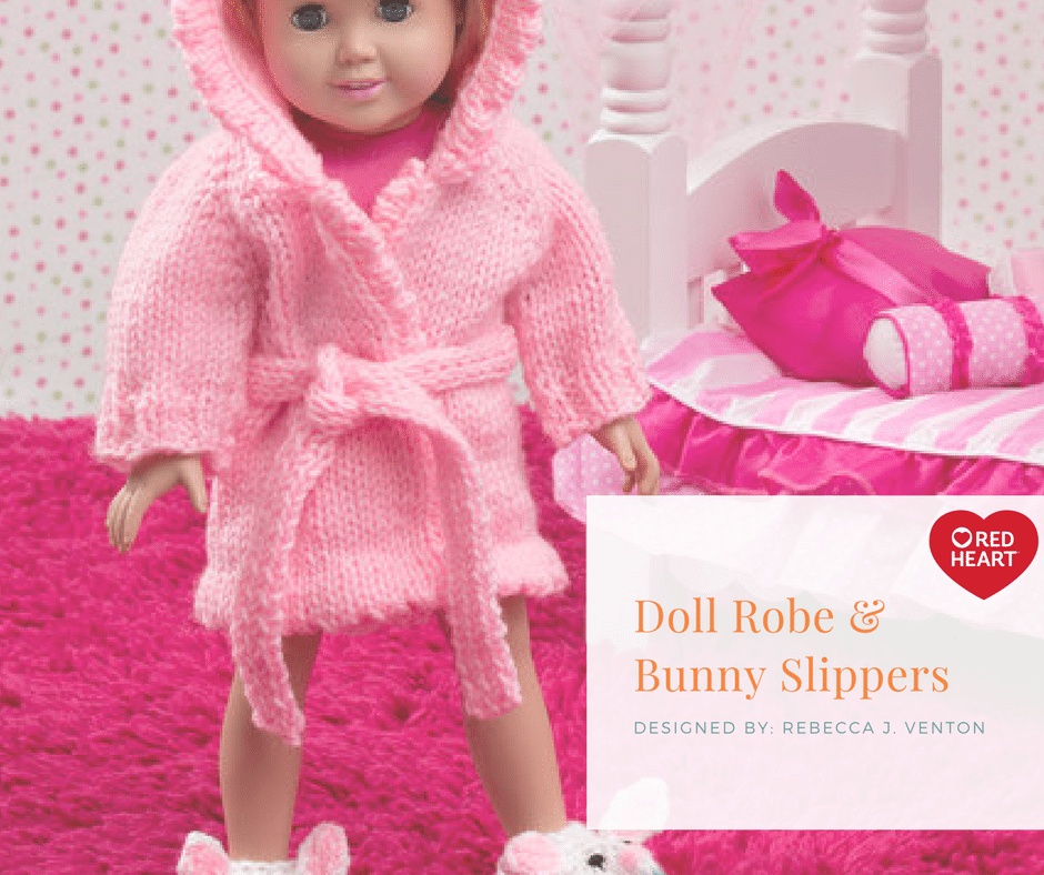 Red Heart Doll Robe & Bunny Slippers