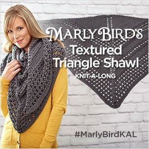 Textured Triangle Shawl KAL with Marly Bird and Red Heart