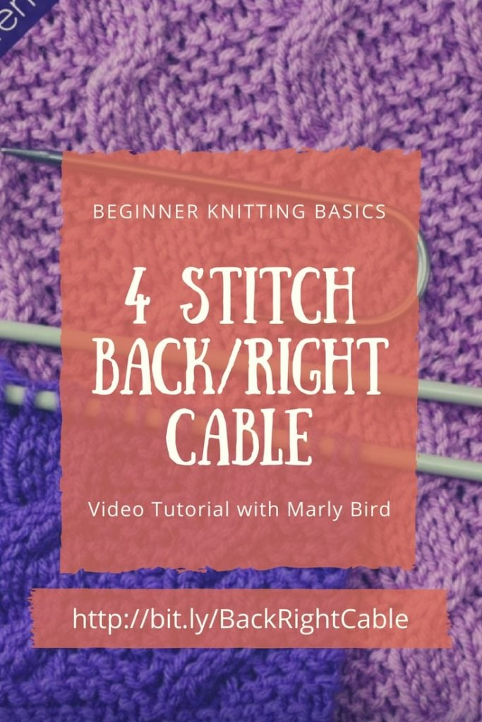 Beginner Knitting Basics 4 stitch back right cable