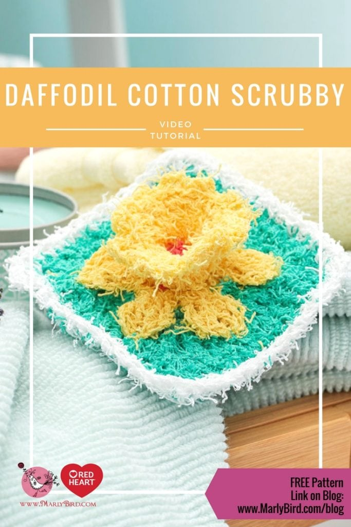 Daffodil Washcloth in Red Heart Cotton Scrubby-Free pattern and video tutorial