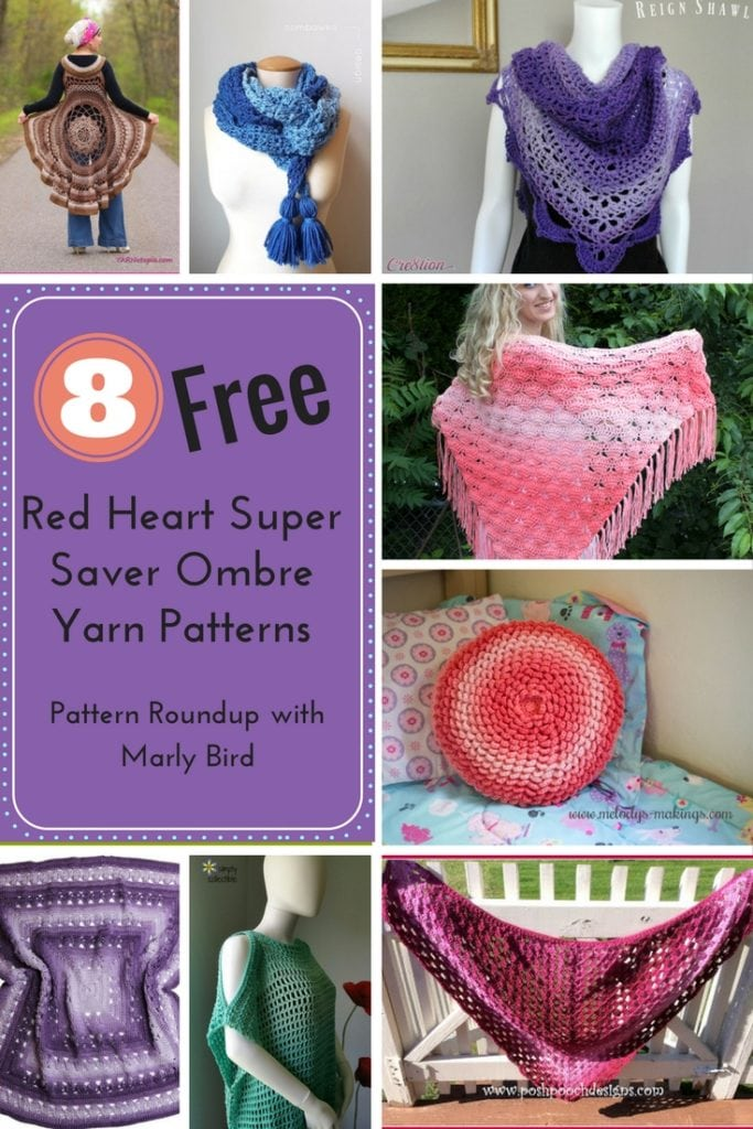 8 Free Red Heart Super Saver Ombre Yarn Crochet Patterns