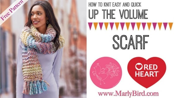 Video Tutorial How to Knit Easy and Quick Up the Volume Scarf with Marly Bird