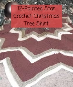 Free Crochet Christmas Tree Skirt Pattern-12-pointed Star Christmas Tree Skirt