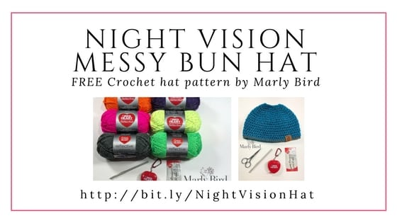 Night Vision Messy Bun Hat-FREE Crochet hat pattern by Marly Bird