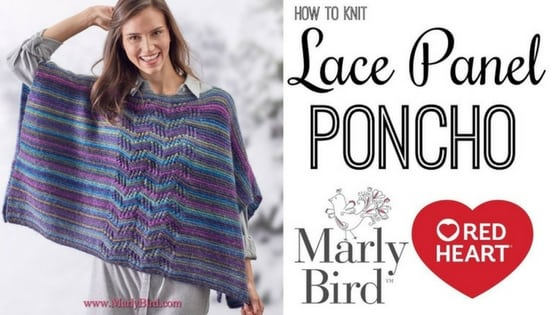 Video Tutorial: How to Knit the Lace Panel Poncho with marly Bird