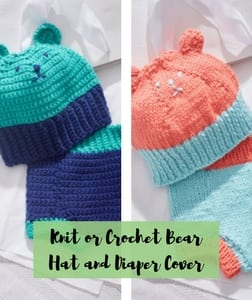 Knit or Crochet Bear Hat and Diaper Cover