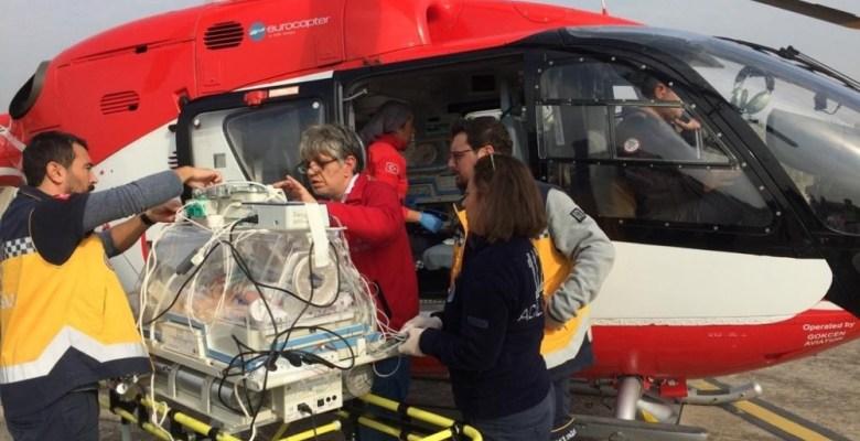 Ambulans uçak prematüre bebek için havalandı