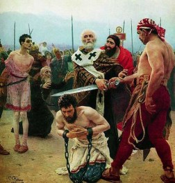 St. Nicholas of Myra, protecting three innocent from death (Oil-Canvas painting by IlyaRepin, 1888, Russian State Museum).