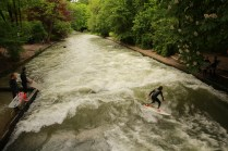 This standing wave makes for fine surfing in the middle of Munich