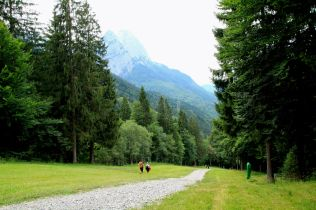 Walking on a ski slope in summer in Garmisch-Partenkirchen