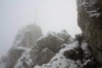 Hiking through snow covered rocks