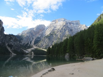 Morning at Lago di Braies in the Dolomites