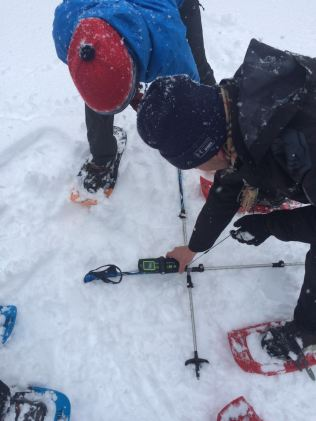 Practicing avalanche rescue. Looking for an avalanche transceiver buried in snow