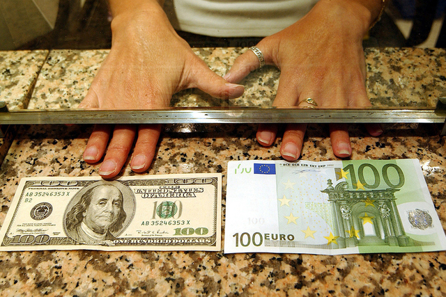 The euro falls against the dollar