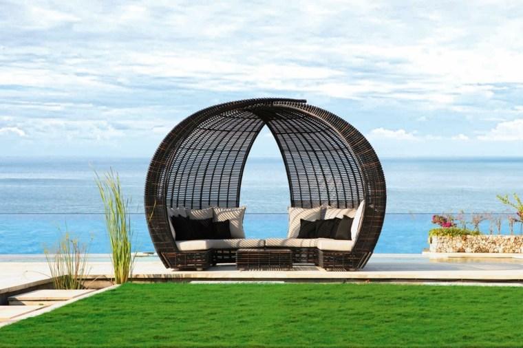 Salon De Jardin Lit Sofa Rond | Semi Circle Patio Wicker ...