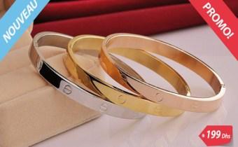Bracelet de luxe 3 pièces en plaqué Or/platine