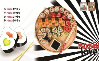 Offre sushi -40% Assortiment de 44 pièces à 159Dh – Formule Variée