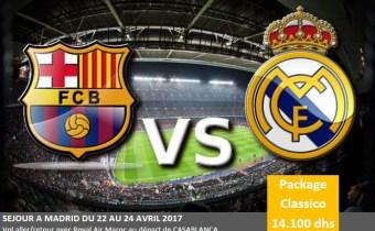 DERNIERES PLACES POUR LE CLASSICO FC BARCELONE/REAL MADRID 23/04 :  A 14100 DHS