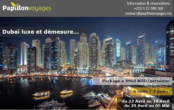 PACKAGE DUBAI DEPART LE 22 AVRIL ET 29 AVRIL A PARTIR DE 9900 MAD