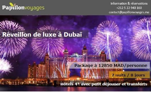 UN REVEILLON DE LUXE A DUBAI A12850 DHS. NOMBRE DE PLACES LIMITE