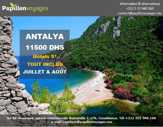 ANTALYA PACKAGE ETE 2018 A 11500 DHS, HOTELS 5* TOUT INCLUS!