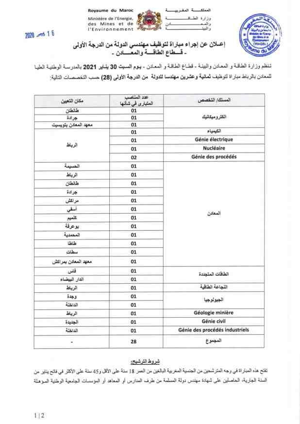 وزارة الطاقة و المعادن و البيئة تنظم مباراة توظيف 50 منصب