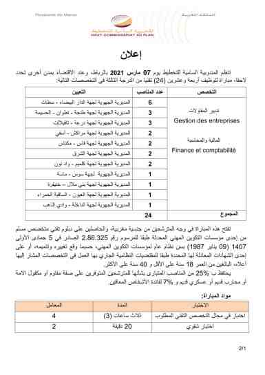 مرشحي المندوبية السامية للتخطيط مباراة توظيف 24 تقني