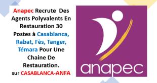 Anapec Recrute Des Agents Polyvalents En Restauration 30 Postes à Casablanca, Rabat, Fès, Tanger, Témara Pour Une Chaine De Restauration. sur CASABLANCA-ANFA